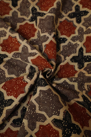 Rust Red with Grey Stars Ajrak Cotton Fabric