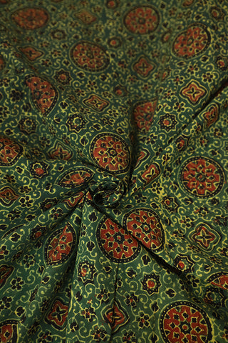 Green With Black Ajrak Block Printed Cotton Fabric