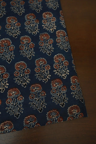 Indigo with Maroon Daisy Floral Ajrak Cotton Fabric