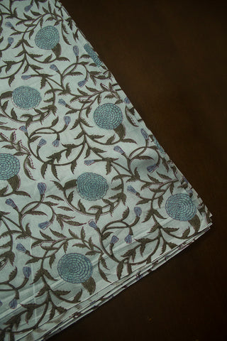 Grey with Blue and Green Floral Chanderi Silk Cotton Fabric