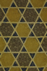 Yellowish Green Big Star Ajrak Cotton Fabric