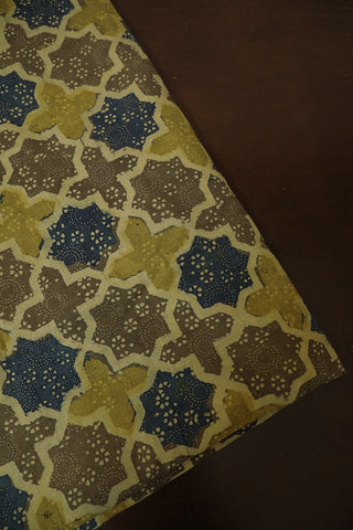 Stars in Beige Ajrak Cotton Fabric