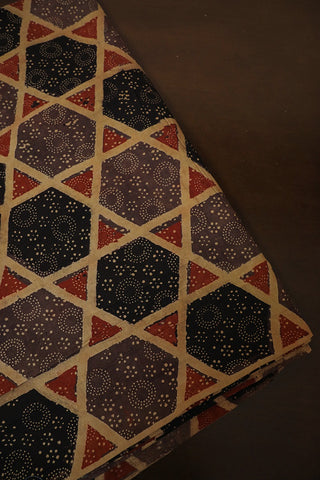 Greyish Brown Big Stars Ajrak Cotton Fabric