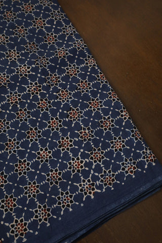 Blue Stars Block Printed Ajrak Cotton Fabric-1.4