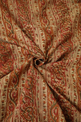 Peach with Green Block Printed Kalamkari Fabric