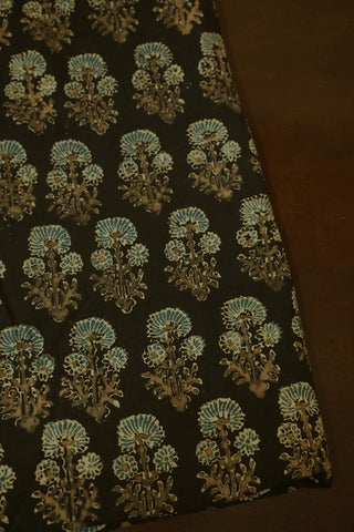 Dark Grey with Subdued Indigo Ajrak Cotton Fabric