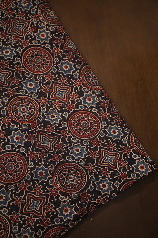 Black Circles & Stars Ajrak Cotton Fabric