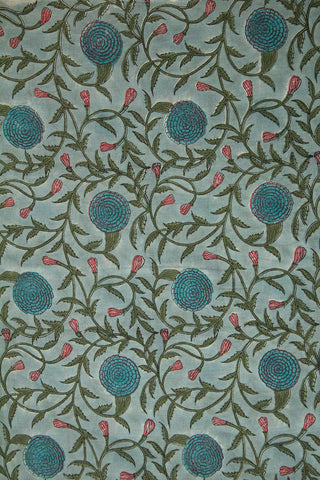 Blue with Pink Floral Mughal Print Cotton Fabric