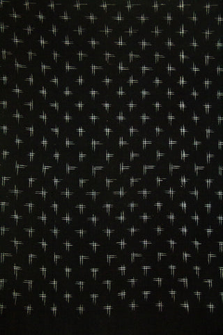 Black with Off White Plus Sign Handwoven Double Ikat Cotton Fabric