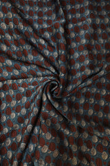 subdued Indigo with Brown Modal Silk Fabric