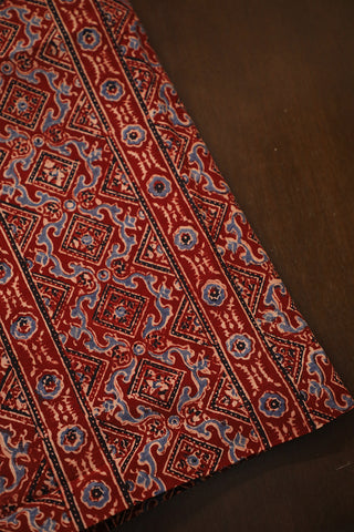 Maroon with Black Lines Ajrak Cotton Fabric