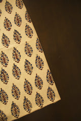 Beige with Blue Floral Block Printed Ajrak fabric