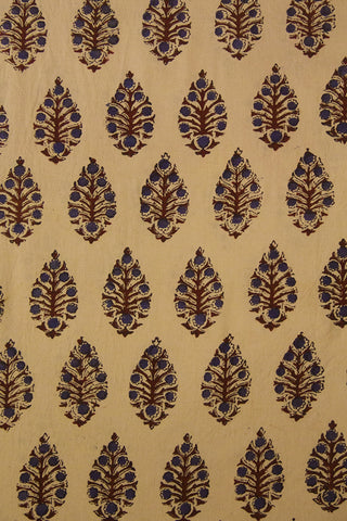 Beige with Blue Floral Block Printed Ajrak fabric -1.5m