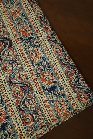 Pink Floral with Blue Block Printed Kalamkari Fabric-0.5 m