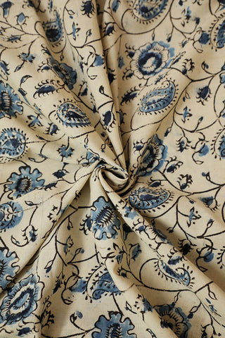 Off White with Indigo Block Printed Kalamkari Fabric-1 m