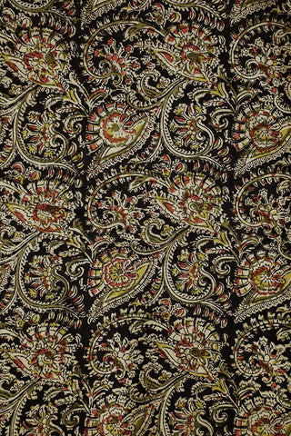 Black Floral Block Printed Kalamkari Fabric-0.6m