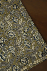 Grey Leaf With Blue Floral Printed Kalamkari Fabric-2 m