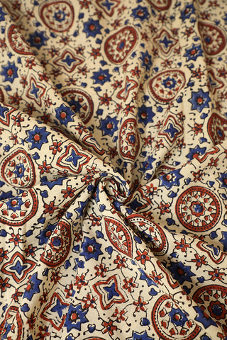 Offwhite Block Printed Ajrak Cotton Fabric