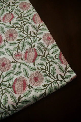 Off White with Green and Peach Big Flower Sanganeri Cotton Fabric