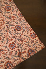 Light Peach Block Printed Kalamkari Fabric-0.6m