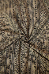 Black Lines with Grey Block Printed Kalamkari Fabric -1.1m