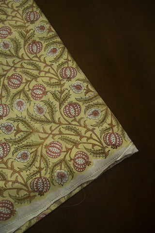 Light Green with Off White and Peach Sanganeri Cotton Fabric