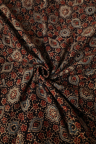 Black with Maroon Ajrak Block Printed Fabric