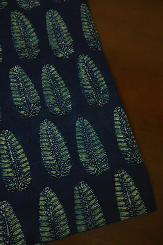 Leaf Block Printed in Indigo Ajrak Cotton Fabric