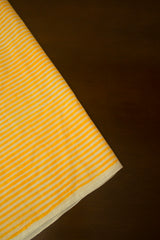 White with Yellow Lines Block Printed Cotton Fabric