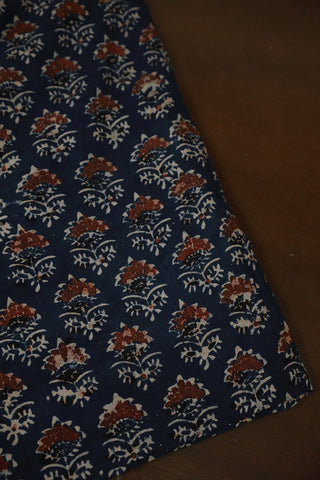 Indigo with Black Ajrak Cotton Fabric
