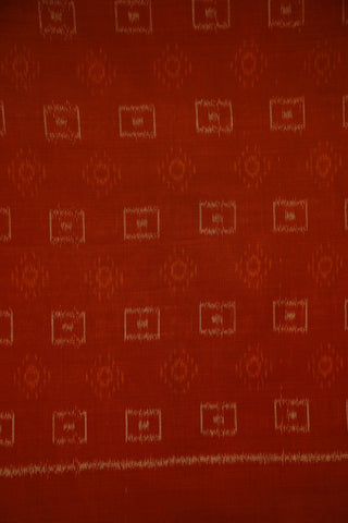 Rust Brown with Small Boxes Orissa Ikat Cotton Fabric