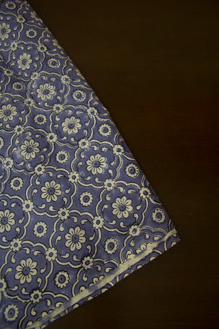 Light Indigo with White Flower Block Printed Cotton Fabric - 0.8m