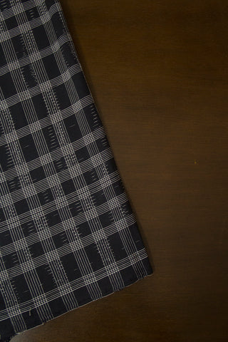 Black with White Checks Handwoven Cotton Fabric
