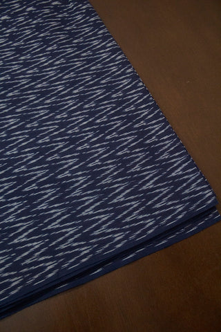 Indigo Blue Zig Zag Handwoven Ikat Mercerized Cotton Fabric