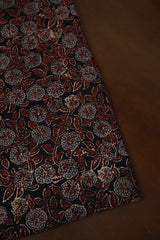 Brown with Greyish Indigo Floral Ajrak Cotton Fabric