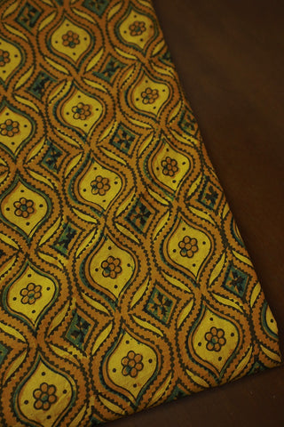 Shades of Yellow with Green Ajrak Cotton Fabric