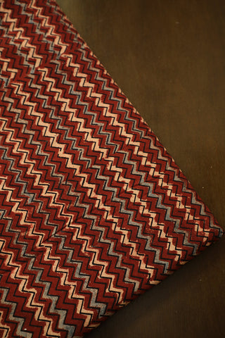 Maroon Zigzags Ajrak  Block Printed Cotton Fabric