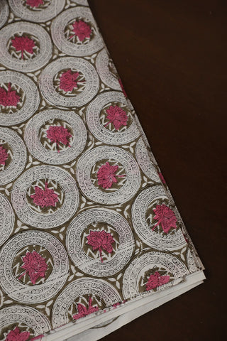 Pink Lotus Block Printed Sanganeri Cotton Fabric