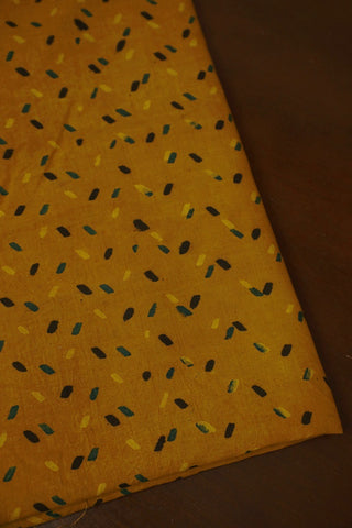 Fenugreek Yellow Ajrak Cotton Fabric