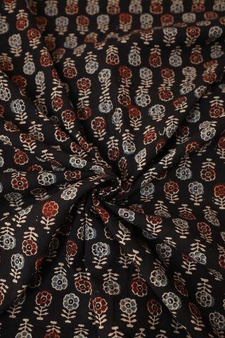 Black with Beige Flower Ajrak Block Printed Fabric