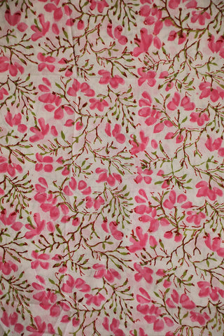 White with Light Pink Block Printed Sanganeri Cotton Fabric