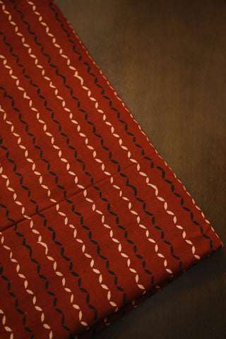 Maroon Ajrak Block Printed Cotton Fabric