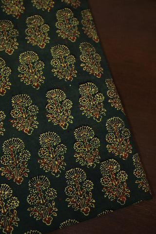 Dark Green with Maroon Ajrak Cotton Fabric