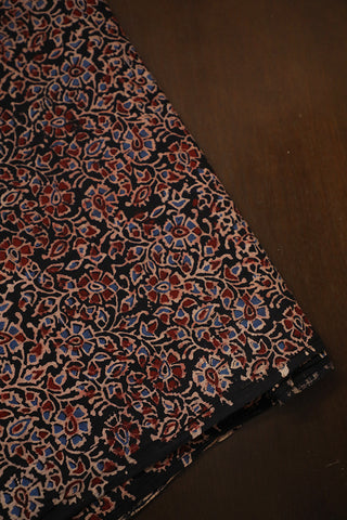 Black with Maroon Intricate Ajrak Cotton Fabric-0.6m