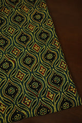 Green with Yellow Ajrak Cotton Fabric