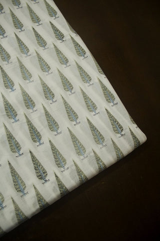 Small Intricate Leaf Sanganeri Cotton Fabric