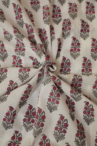 Off White with Pink FloralBlock Printed Sanganeri Cotton Fabric