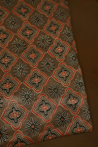 Brown Block Printed Mashru Silk Fabric