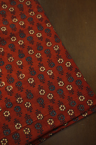 Blue and Beige Floral in Maroon Ajrak Cotton Fabric