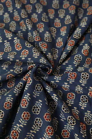 Blue with Beige Floral Ajrak Block Printed Fabric